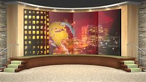 HDTV News Virtual Studio Green Screen Background Blue ...