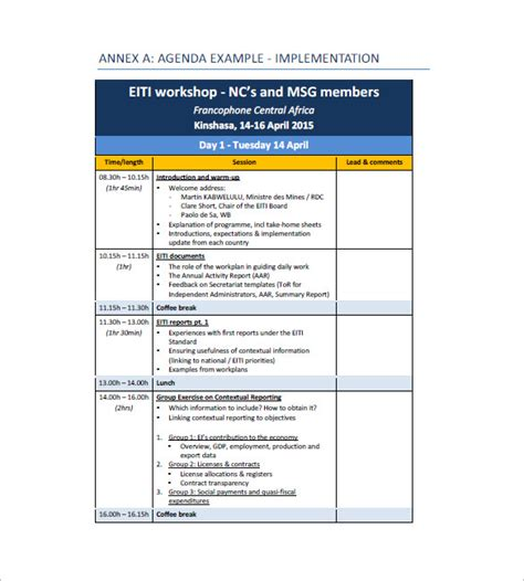 training agenda template for word 10 training agenda templates free sle exle