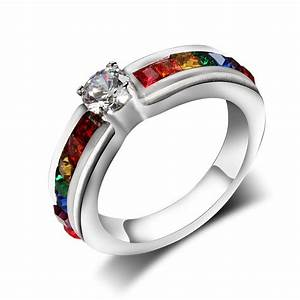female titanium steel jewelry zircon rainbow stainless With gay pride wedding rings