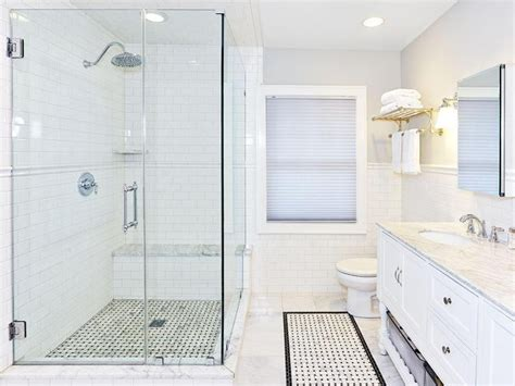 shower with subway tile bathroom chair rail white subway tile shower with chair rail white subway tile with gray grout