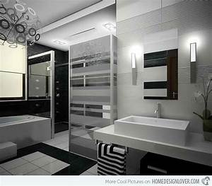 20 sleek ideas for modern black and white bathrooms home for Black and white modern bathroom