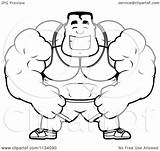 Buff Bodybuilder Cartoon Coloring Clipart Happy Pages Vector Builder Outlined Thoman Cory Printable Getdrawings 2021 Getcolorings sketch template