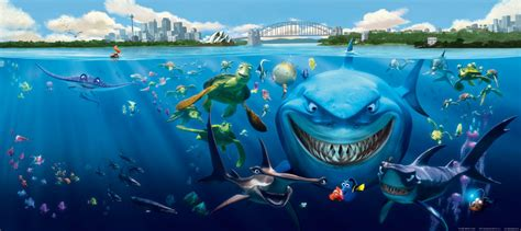 fototapete kinderzimmer wall mural wallpaper finding nemo 3 sharks bruce anchor chum photo 202 x 90 cm 2 21 yd x 35