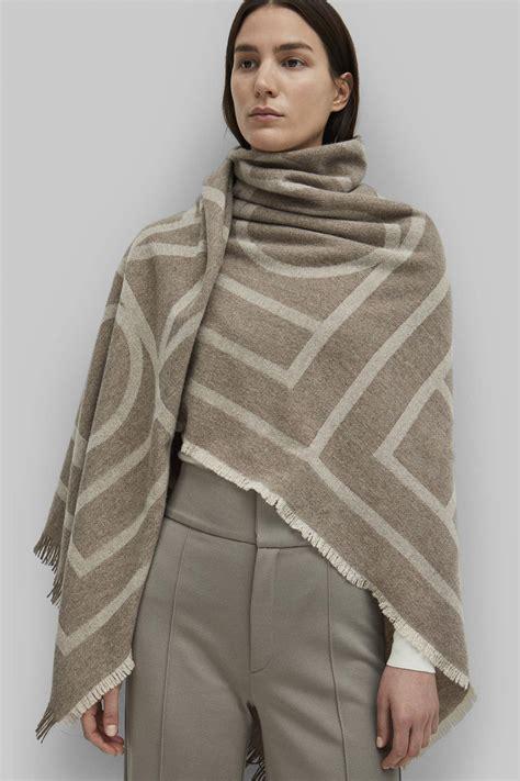 toteme como printed jaquard scarf tobacco monogram garmentory