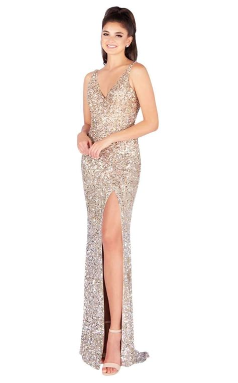 Attainable luxury for the modern women creating collections since 1985 that blend edgy modernism & classic sophistication. Mac Duggal Sequined V-neck High Slit Evening Gown 4834l ...