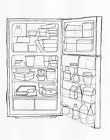 Fridge Coloring Drawing Open Office Refrigerator Pages Printable Getdrawings Getcolorings sketch template