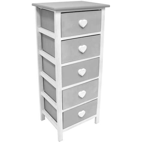 Hartleys White & Grey 5 Drawer Heart Storage Unitchest Of