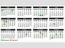 Vacaciones Calendario laboral 2018 para Madrid todos los