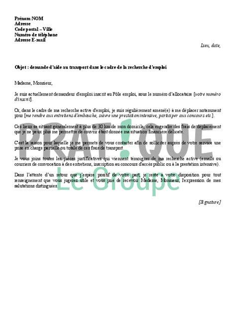 lettre de motivation aide cuisine lettre de demande d 39 aide au transport à pôle emploi