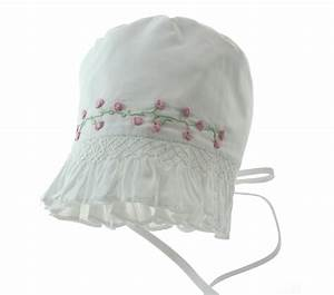 Feltman Brothers White Baby Bonnet With Roses Garden