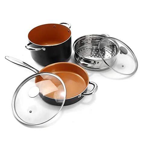michelangelo cookware sets copper  piece   stick ceramic titanic pots ebay