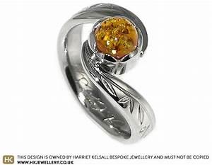 panda inspired palladium and amber engagement ring With amber stone wedding ring
