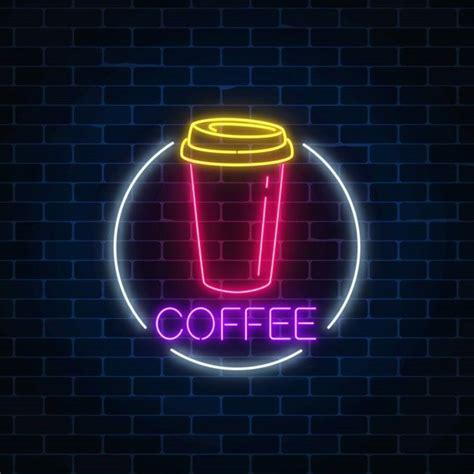 Coffee neon design resources · high quality aesthetic backgrounds and wallpapers, vector illustrations, photos, pngs, mockups, templates and art. Neon Glowing Sign Of Coffee Cup In Circle Frame On A Dark Brick Wall | Cool neon signs, Neon ...
