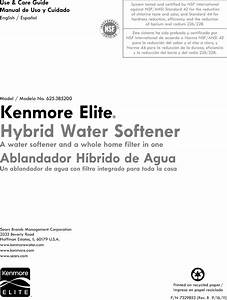 Kenmore Elite 625385200 User Manual Water Softener Manuals