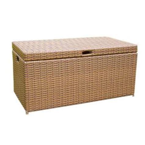 jeco honey wicker patio furniture storage deck box ori003