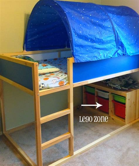 ikea loft bed  tent trofast storage bins  great