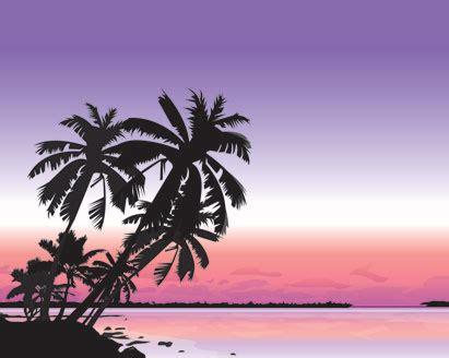 silhouette beach landscape vector ai svg eps vector
