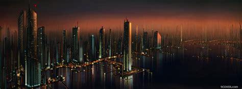city  future buildings  night photo facebook cover