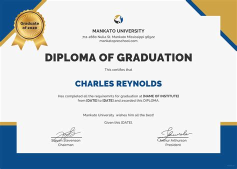 diploma template free diploma of graduation certificate template in psd ms word publisher illustrator