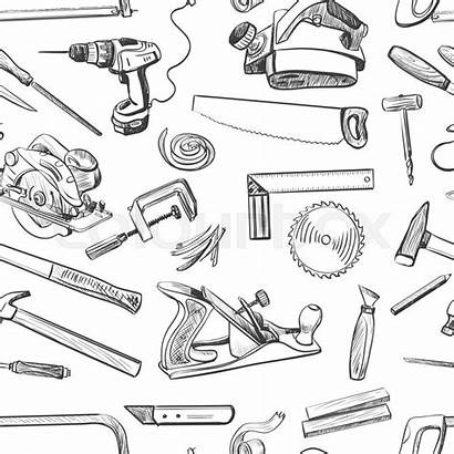Tools Hand Vector Common Drawn Carpentry Sketch