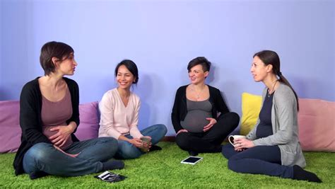 pregnant talking moms mothers pregnancy hospital 4k smiling prenatal together antenatal class happy mom shutterstock footage friends belly visually lesson