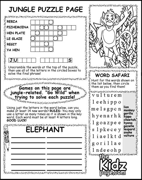 jungle puzzle activity sheet free coloring pages for