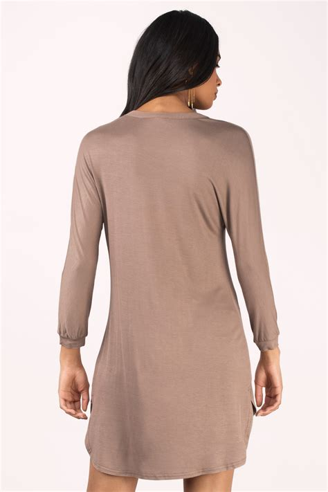 taupe color dress pretty taupe day dress v neck dress brown dress day
