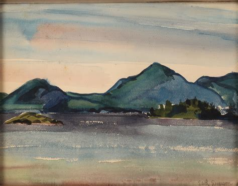 lot  edith emerson mountain landscape watercolor