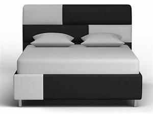 Lit Blanc Adulte : lit adulte 140x190 200cm xamm coloris noir et blanc vente de lit adulte conforama ~ Teatrodelosmanantiales.com Idées de Décoration