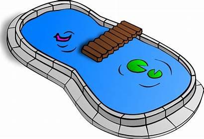 Pond Clip Clipart Fountain Vector Outline Svg