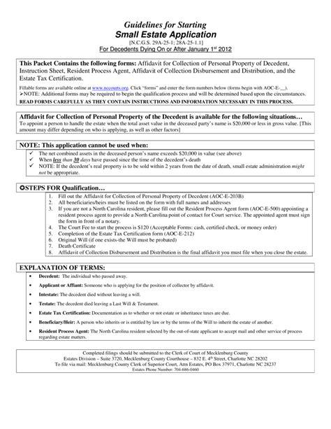 free small estate affidavit form north carolina north carolina small estate affidavit form aoc e 203b