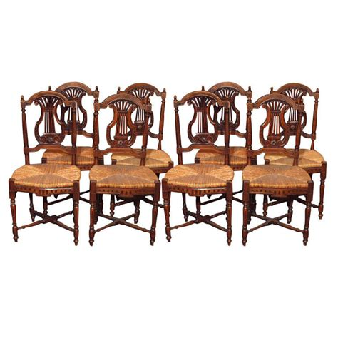 set of 8 antique country dining room chairs