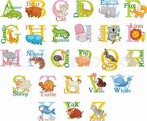 Cute animal alphabet funny cartoon character a b c d for Animals with the letter o in their name