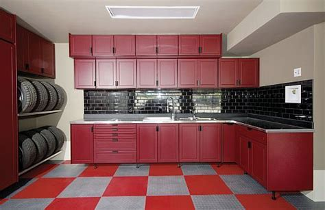 red garage cabinet ideas  red  white floor
