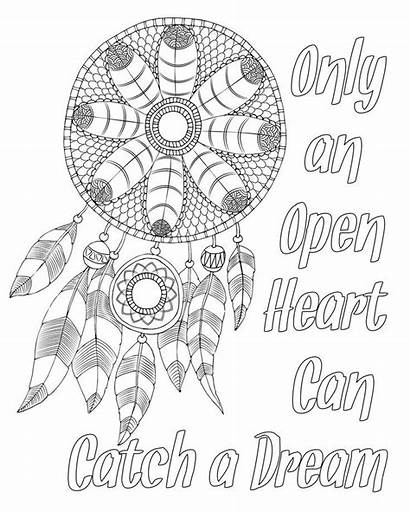 Coloring Pages Adult Dream Quotes Catcher Quote