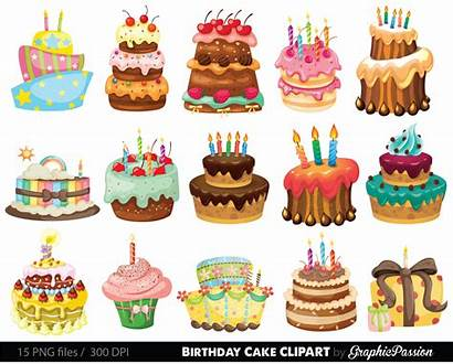 Cake Birthday Clipart Illustration Colorful Clip Cupcake