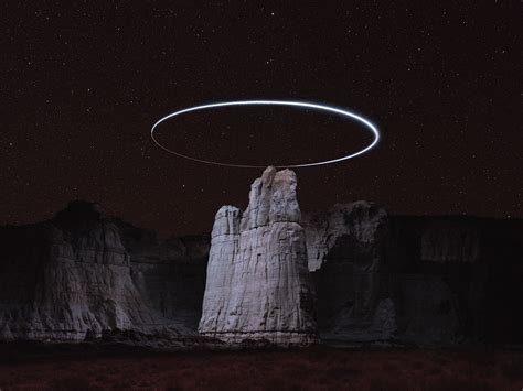long exposure drone photographs create light halos