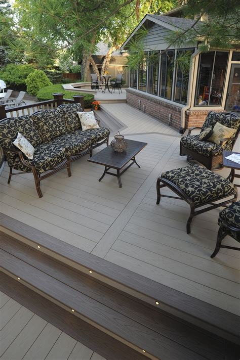 azek decking harvest collection in brownstone with sedona accents and azek in deck lights