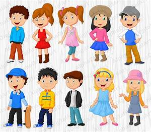 10 Cartoon Kids clipart, Kids clipart, Kids clipart set ...