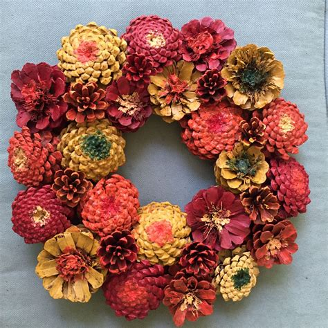 pine cone wreath directions fall zinnia pinecone wreath crafts bazzar pinterest zinnias pinecone and wreaths