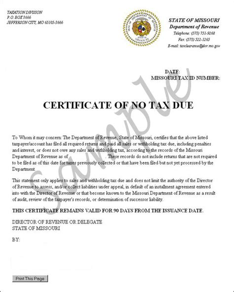 tax due certificate confirmation letter