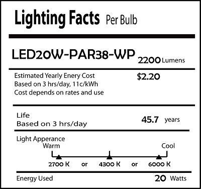 20 watt led par38 spot flood light ip67 outdoor