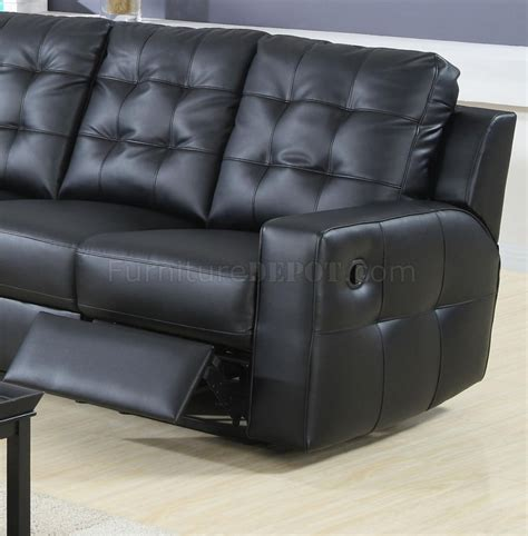modern leather double reclining sectional sofa  black