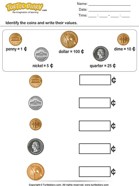 identify coins  write  values worksheet turtle diary
