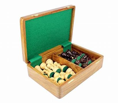 Chess Storage Box Pieces Wooden Wood King