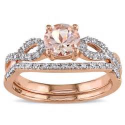halo wedding rings miadora signature collection 10k gold morganite and 1 6ct tdw bridal ring set