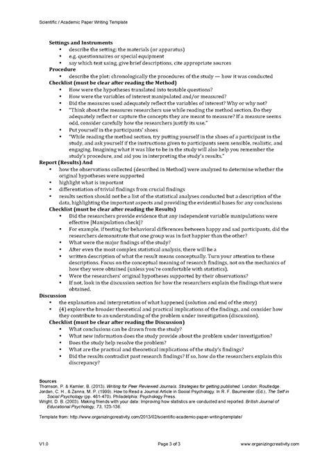 scientific paper template scientific academic paper writing template organizing creativity