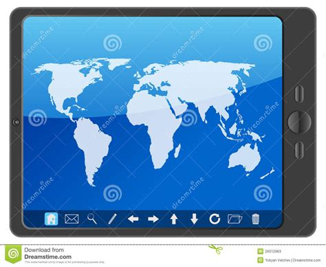 pc tablet  world map stock  image