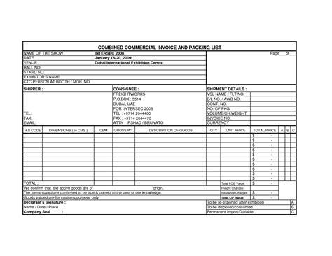 commercial invoice template excel international commercial invoice template invoice exle