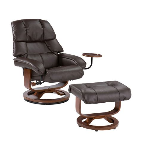 brown leather chair with ottoman southern enterprises cafe brown leather reclining chair